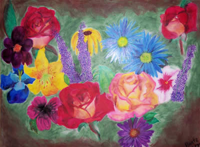 Flower Arrangement, 2003 (Oil Pastels) by Kendra M. Storer