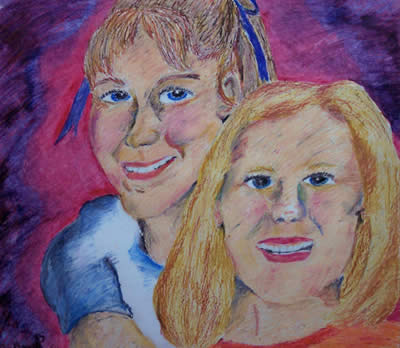 Friends, 2001 (Oil-Pastel) by Kendra M. Storer