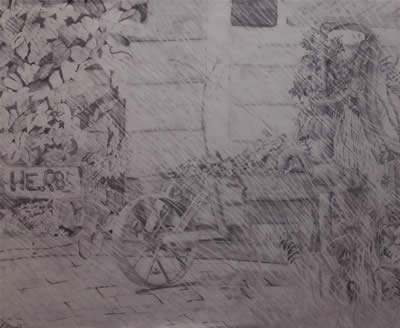 Herb Cart, 2001 (Pencil) by Kendra M. Storer